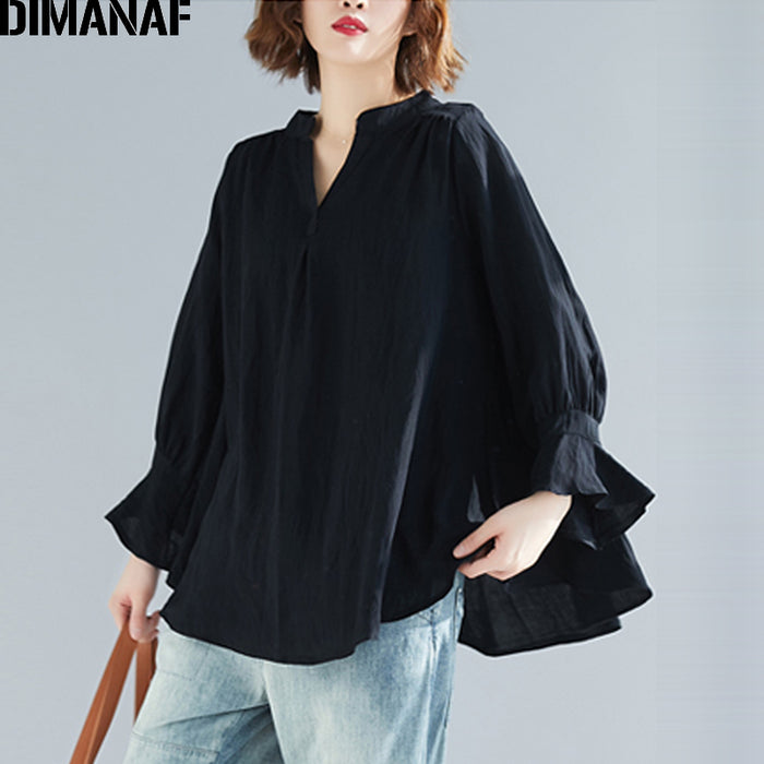 DIMANAF  Women Blouse Shirt Vintage Summer Lady V-Neck  Casual Long Sleeve