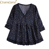 Newly Design Mini Floral Print Women V Neck Tunic Blouse Female Long Sleeve High Waist Floral Lace Loose Plus Size Shirts 81218