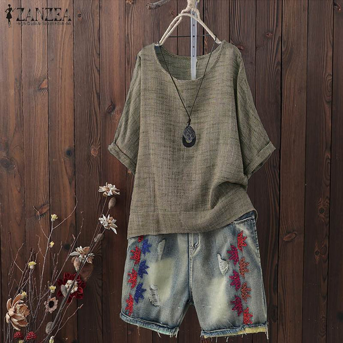 2019 ZANZEA Summer Blouse Women Casual O Neck Short Sleeve Vintage Tops Tunic Femininas Loose Shirt Solid Robe Blusas Chemise