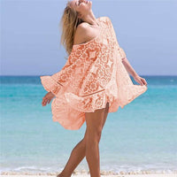 Womens Lace Crochet Blouse Female Summer Loose Beachwear Lace Cover-up Blouses Kaftan Shirt Tops Holiday Sea Side Clothes New
