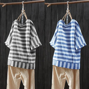 ZANZEA Striped Summer Tee Shirts Women's Blouse Kaftan Oversized Tunic Tops Female Patchwork Work Blusas Short Sleeve Chemise