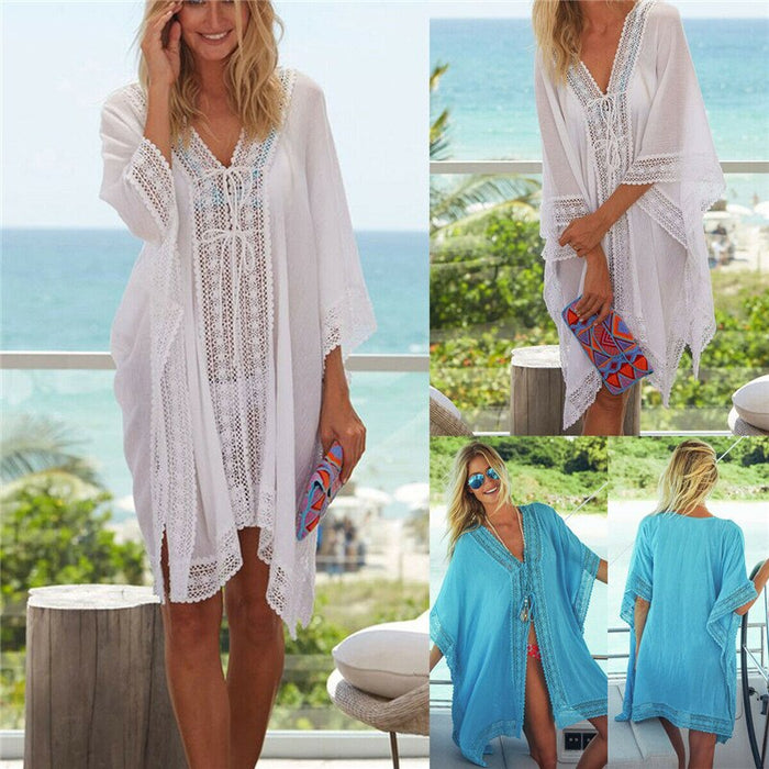 Women Flower V-neck Tops Lace Crochet Swimwear Dress Bikini Cover Up Summer Kaftan Blouses Short