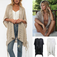Women Summer Beach Beachwear Cover Up Bathing Kaftan Blouses Summer Short Sleeve Knitted Long Tops
