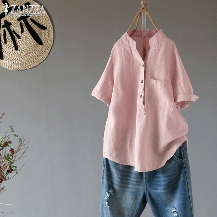 2019 ZANZEA Women's Summer Blouses Vintage Linen Blusas Female Button Shirts