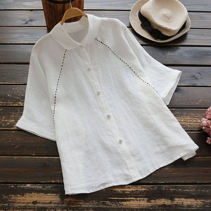 Fashion Womens Flare Sleeve Blouse 2019 Summer Tunic Tops Kaftan Female Button Down Shirts Casual Blusas Chemise Plus Size Tee