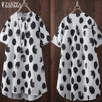 ZANZEA 2019 Summer Tunic Women's Print Blouse Casual Blusas Vintage Irregular Tops Female Button Shirt Kaftan Plus Size Chemise