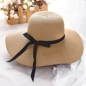 2019 Summer Straw Hat Women Big Wide Brim Beach Hat Floppy Foldable UV Protection Sun Hats For Women Bowknot Summer Hat