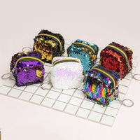6cm*6cm*5cm Cute Novelty Cuboid Bling Sequin Zipper Plush Coin Purse