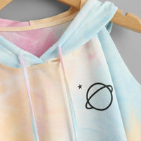 Open Shoulder Water Color Hooded Tee Shirt Multicolor 3/4 Sleeve Tie Dye Women Top Drawsting Casual Crop T Shirt 2019 GRNSHTS
