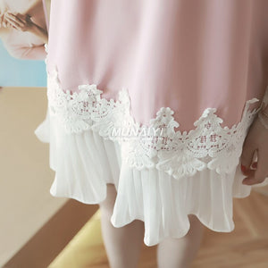 Pengpious 2019 spring pregnant women's clothing pleated lace patchwork short sleeve chiffon shirts long loose maternity blouses