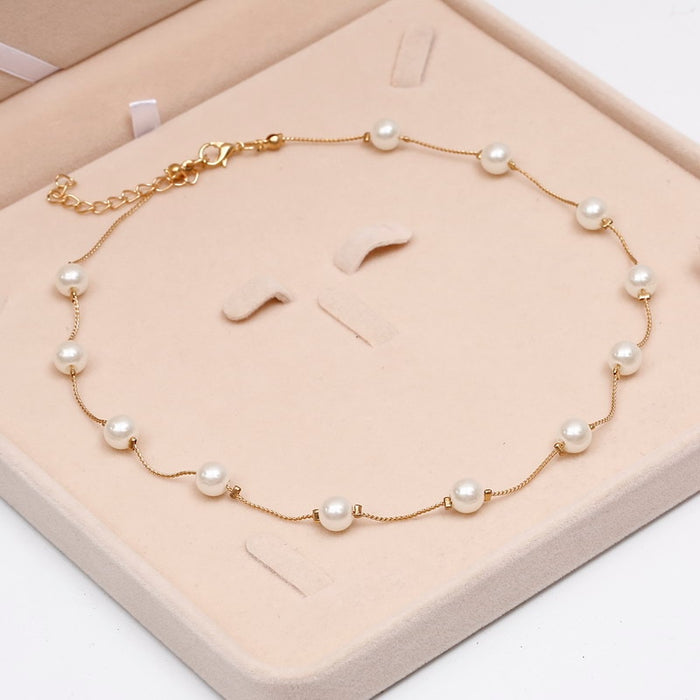 Simulated Pearl Necklace Top Quality Anti-Allergy Wholesale Gold Color Statement