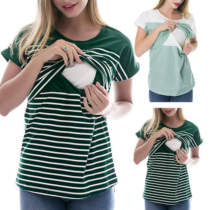 Women Maternity Short Sleeve Stripe Print Tops Pregnancy shirt Clothes women pregnant clothes maternity fashion hamile giyim@15