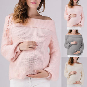 2019 New Spring Winter Fashion Shirt For Pregnant Women Maternity Knitted Sweater