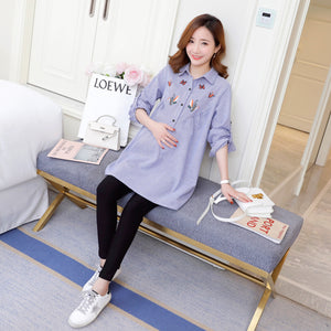 8192# Embroidery Cotton Maternity Blouses 2019 Spring Fashion Loose Shirts Clothes