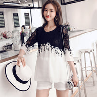 2019 summer pregnant women tassel lace stitching chiffon blouses long loose