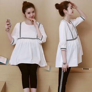 Pengpious 2019 autumn three quarter sleeve maternity lactation shirts o-neck plus size postpartum women breastfedding blouses