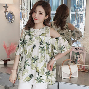 2019 summer cotton and linen off-the-shoulder floral shirts for pregnant women short