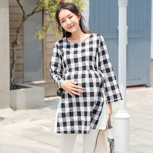 8854# Black Plaid Cotton Patchwork White Side Split Maternity Blouses Autumn Fashion