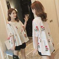 Summer Cotton And Linen Maternity Dress For Pregnant Women Embroidery Blouses With Shorts Set Pregnant Woman Stomach Lift Pants