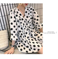 Three Quarter Sleeve V-neck Pregnant Women Polka Dot Shirts Plus Size White with Black
