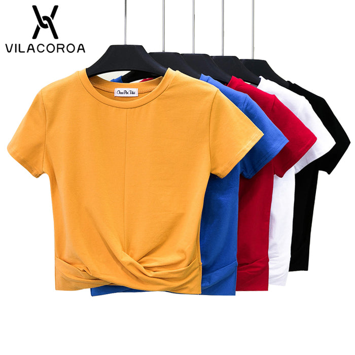 Women's Crop Top Summer Cross Shape T-Shirt Top Short Sleeve O-Neck Casual Solid T-Shirt Cotton High Waist Slim Camiseta Mujer