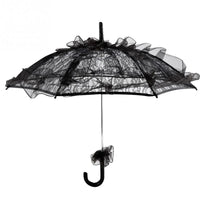 Black Color Lace Umbrella Parasol Household Rain Gear Creative Transparent Long Handle