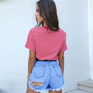 Vintage Stripped T Shirt New Fashion Clothes for Women Summer Tops Letter 90's Baby Printed Tshirt Harajuku Streetwear
