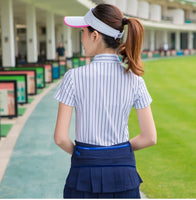 2018 women's golf sportswear summer short-sleeved t-shirt women's top elastic breathable quick-drying striped golf POLO shirts