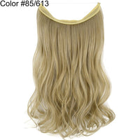 TOPREETY Halo Hair Extensions Invisible Elastic Wire Hidden Wavy Hairpiece No Clip Heat Resistant Synthetic Fiber TPYLW90