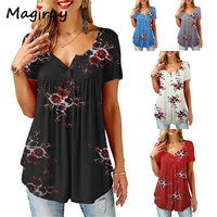 Magiray Vintage Floral Tunic Button Henley T Shirt Women Summer Retro Slim Causal Tee Button Pleated Flowy Tshirt Female Top 194