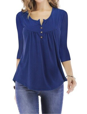 Women Tops T Shirt Tshirt Shirt Women 3/4 Sleeve Shirt T-shirt Button up Henley