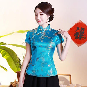 Retro Navy Blue Chinese Lady Satin Blouse Flower Elegant Summer Shirt Mandarin Collar Plus Size Tops Traditional Clothes S-4XL