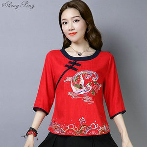 Traditional clothing tops and blouses linen shirt oriental cheongsam