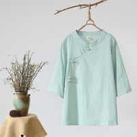 NAGODO Chinese Clothings Tops Vintage Cotton Linen Folk Style Female ladies Loose T Shirts Half Sleeve women Tops White Green