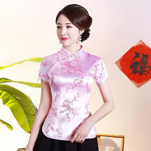 Sexy Slim Women Satin Shirt Classic Short Sleeve Dragon Blouse Traditional Chinese Tops Plus Size Vintage Lady Clothing 3XL 4XL