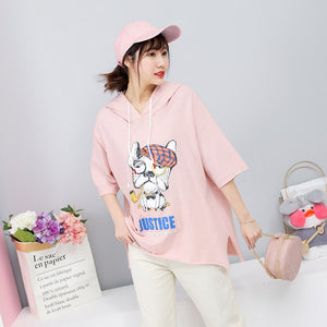 2019 Summer New Arrival Cotton Plus Size Women Tshirts Loose Short Sleeve Top Side Slit Hooded T Shirt For Women