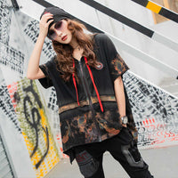 Punk Clothing Hooded 2019 Summer T shirts Vintage Punk Tees Female Loose Tops Casual Zipper T Shirt with Hat for women LT810S50