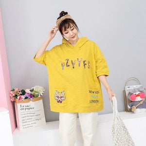 2019 Spring New Hooded T Shirt For Women Cartoon Printed Loose Plus Size Women Tshirts Letter Short Sleeve T-shirt