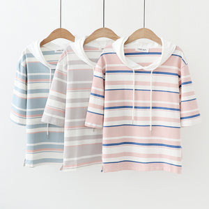 women pullover mori girls summer Japanese style casual hooded short sleeve pink grey blue striped t shirt tops
