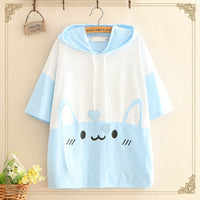 Harajuku Lovely Rabbit Graphic Women T-shirt Japanese Mori Girl Kawaii Bunny Short