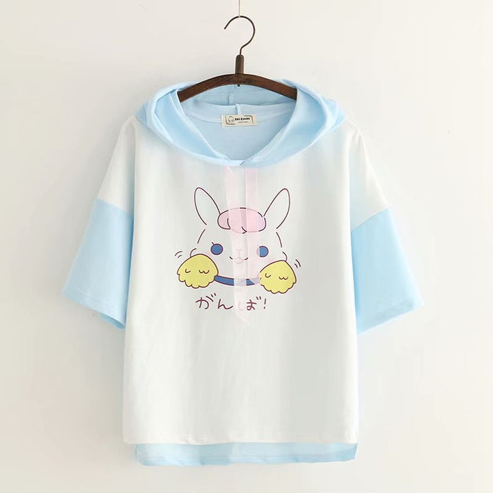 Japanese Harajuku Kawaii Rabbit Girls T Shirt Korean Cute Bunny Casual Tops Summer Short Sleeve Female Tee Women Pink Clothes 90