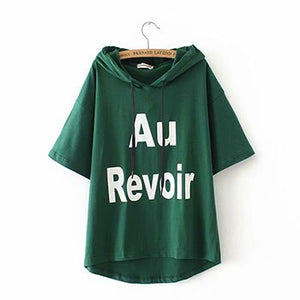 Plus size letter print green & red & white & black cotton women t shirts 2019 summer tshirts hooded short sleeve ladies t-shirts