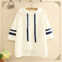 Japanese Summer 2017 College Style Loose Patchwork Hooded T-shirts Tees Women Casual Short Sleeve Irregular Hem T Shirt J006