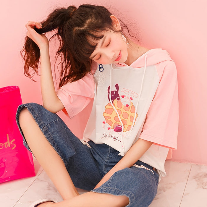 Harajuku Preppy Pink Women's Kawaii T-shirt Summer Cute Rabbit Print Casual Tee Japanese Lovely Bunny Long Ear Female T Shirt