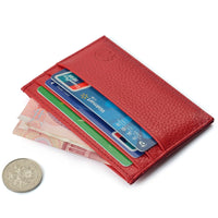 Genuine Cow Leather Credit ID Cardholder Wallet Business Bank Card Bag Case Coin