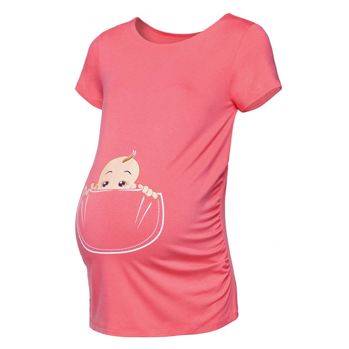MUQGEW Clothes Pregnancy Women's Maternity Baby in Pocket Print T-Shirt Top Tee T-shirt Pregnancy Clothes Pergnancy 2019