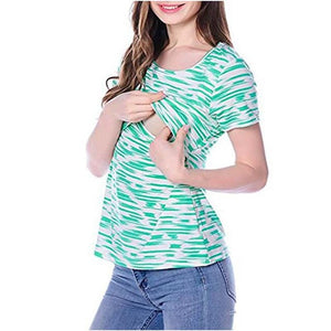 2020New Striped Maternity Nursing T Shirts Women Breastfeeding clothing