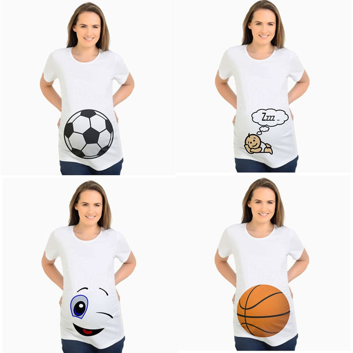 Plus Size Pregnancy Clothes Basketball Football print Maternity T Shirt for Pregnant Women T-shirt Summer Maternity Tops Clothes