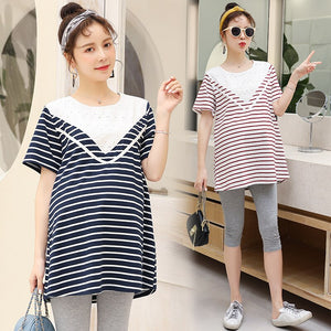 619# Striped Cotton Patchwork Lace Maternity Shirts Summer Fashion T Shirt Clothes