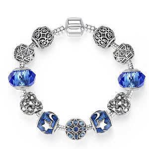 Original Silver Plated Crystal Four Leaf Clover Bracelet with Murano Glass Beads